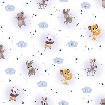 Kung Fu Panda Madagascar Fabric CLOUDY.100.140